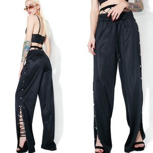 Dolls Kill KikiRiki Black Wannabe Snap Track Pants